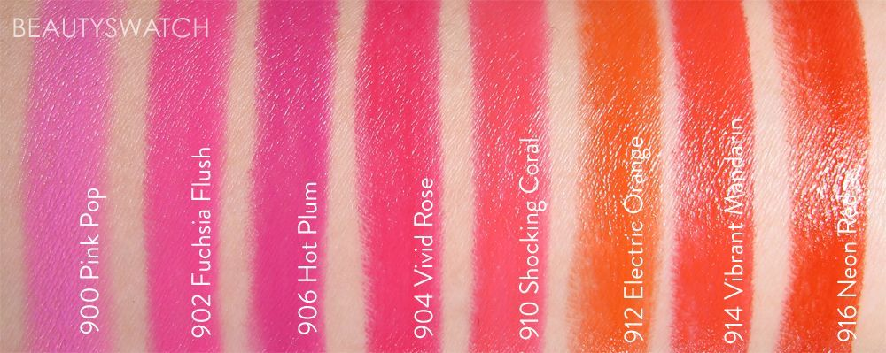 Swatches of Maybelline Color Sensational Vivids lipsticks -