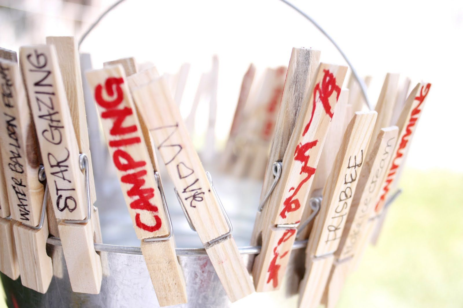 summer bucket list Have a clothes pin for each camper and what they want to do most that week. When they do that activity have them put it in the bucket. Then they have tangible evidence they did what they came to do.