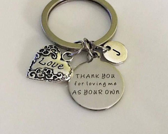 Stepmom KeychainGift Thank You For Loving Me As Your Own Gifts Stepmother Birthday Gift Mother In Law Wedding Jewelry Keepsake