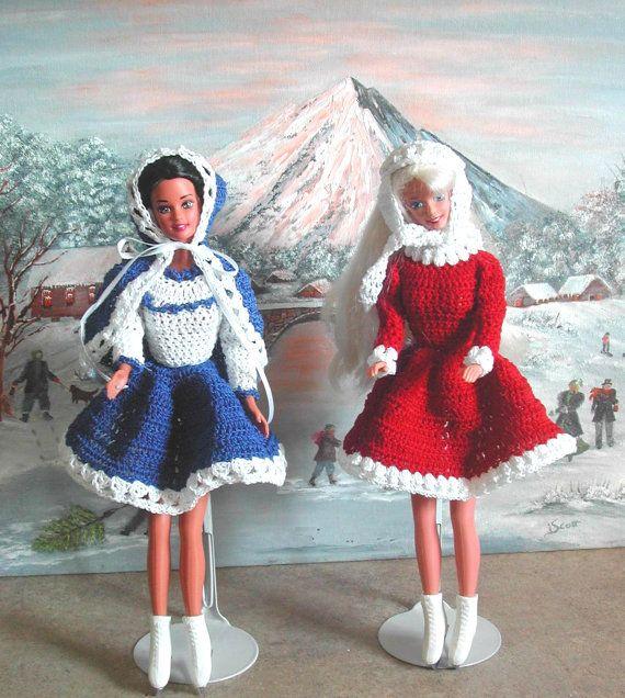 Crochet Fashion Doll Barbie Pattern- #433 SKATING COSTUMES   Barbie ...