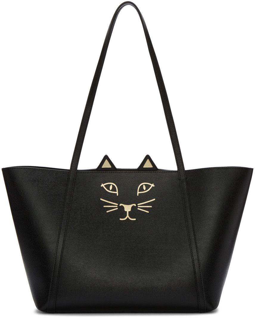 185a22e8b56e Charlotte Olympia - Black Mini Feline Shopper