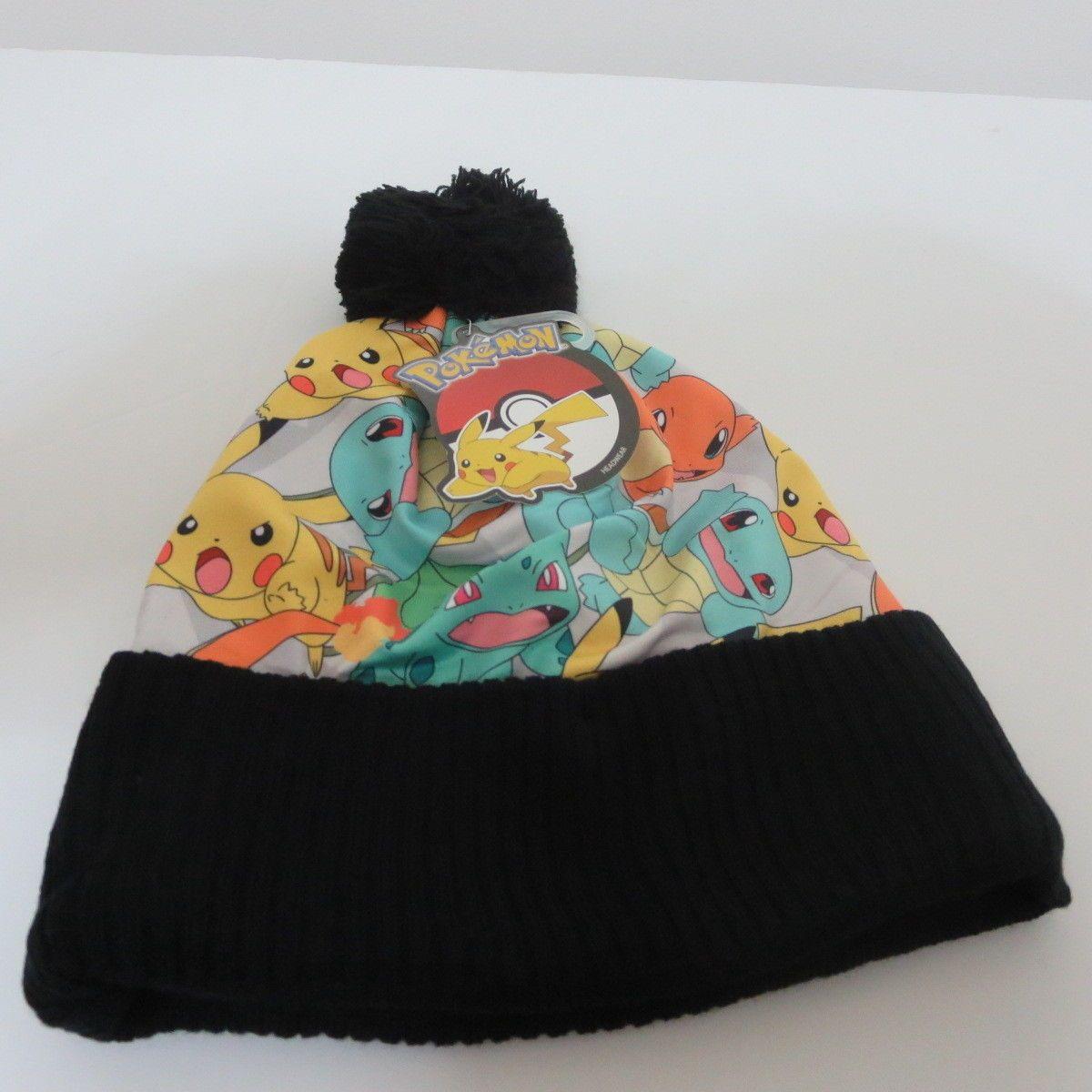 f28c3263b5af00 Pokemon Pikachu Group Nintendo Black Winter Beanie Hat   Products ...