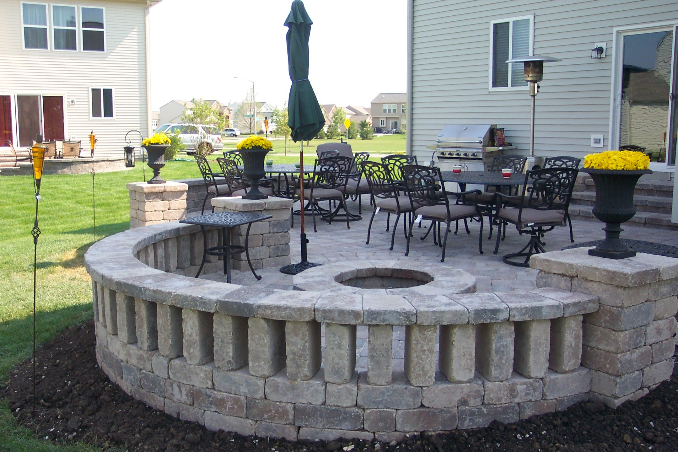 Patio Ideas: Patio Block Ideas With Round Brick Patern And Small Fountain  Ideas