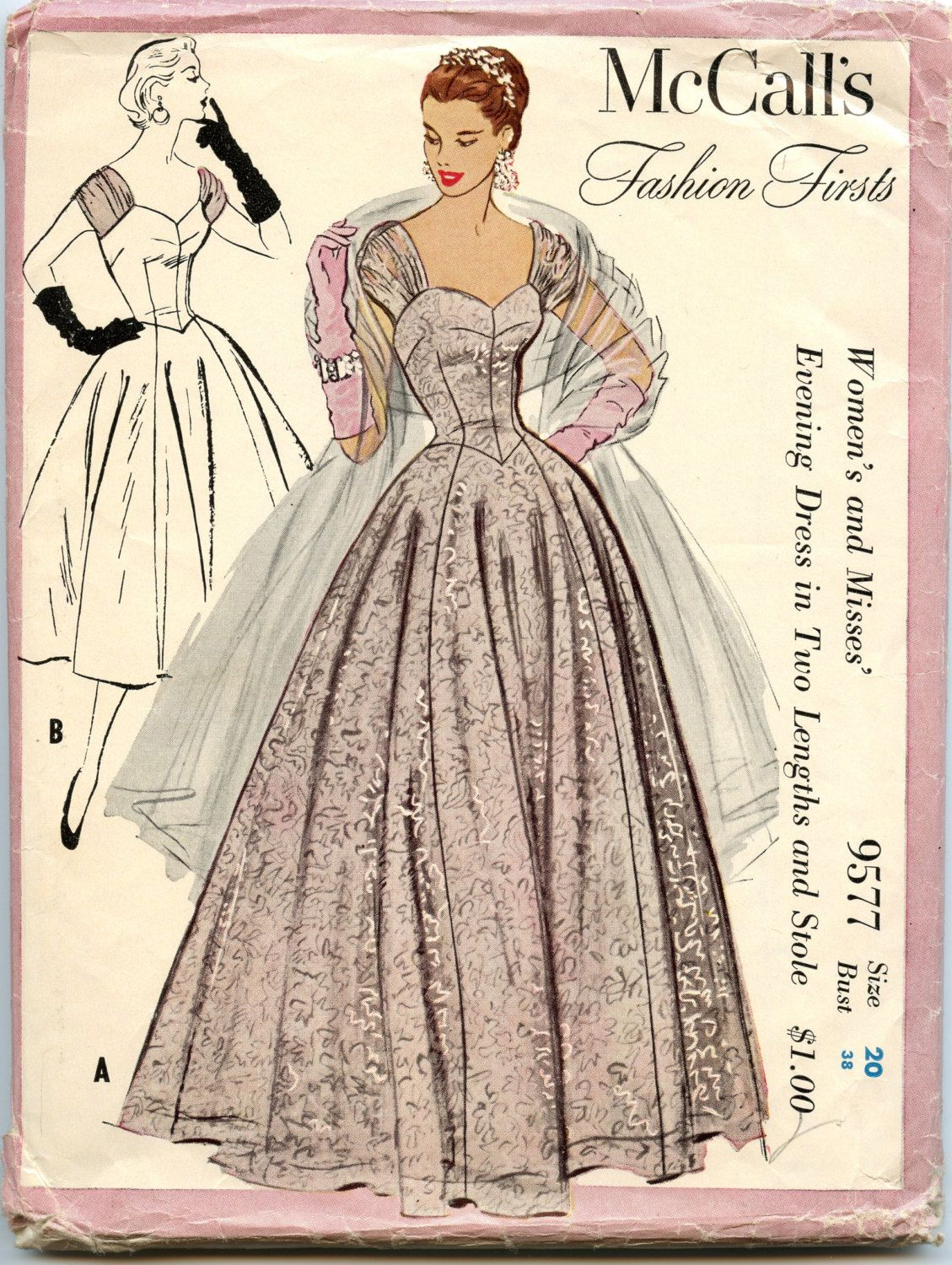 1950s McCalls 9577 Fashion Firsts Pattern Evening Dress in Two ...
