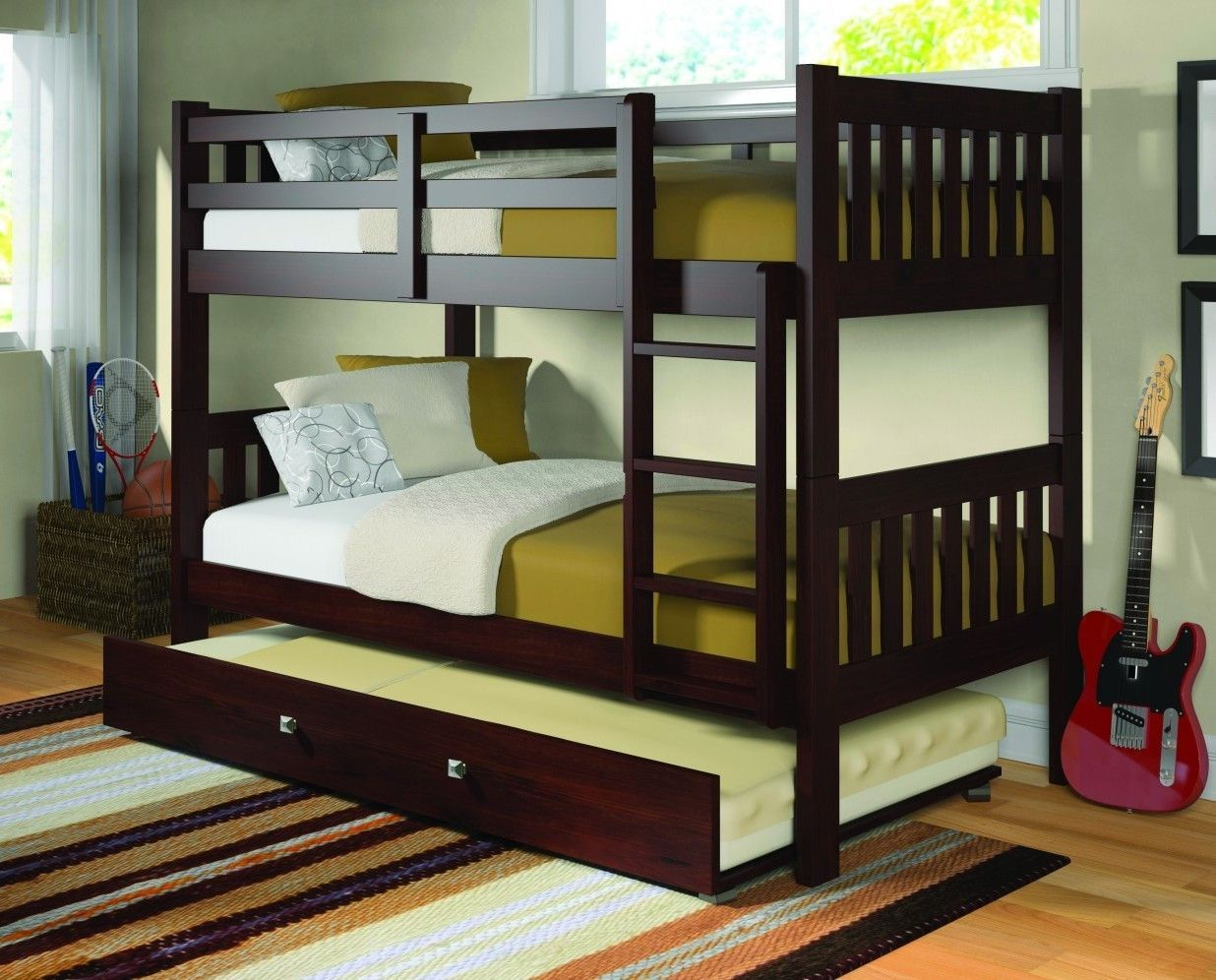 Two twin loft bed  Morgan Cappuccino Bunk Bed with Trundle  Bunk bed Kids furniture