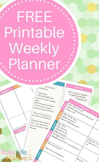 Free Printable Weekly Planner From Busy Life Planners  Planners