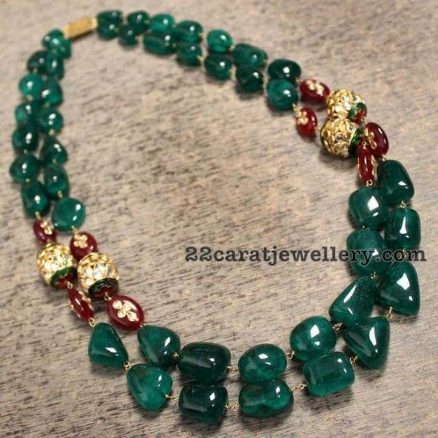 Emerald Bead Beads: Emerald Beads Multi Strings Necklaces