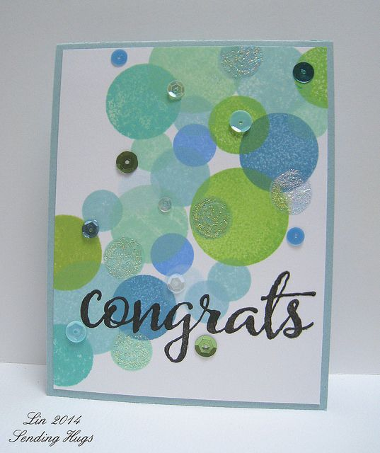 Bokeh Congrats Card Card Making Inspiration Hand Stamped Cards