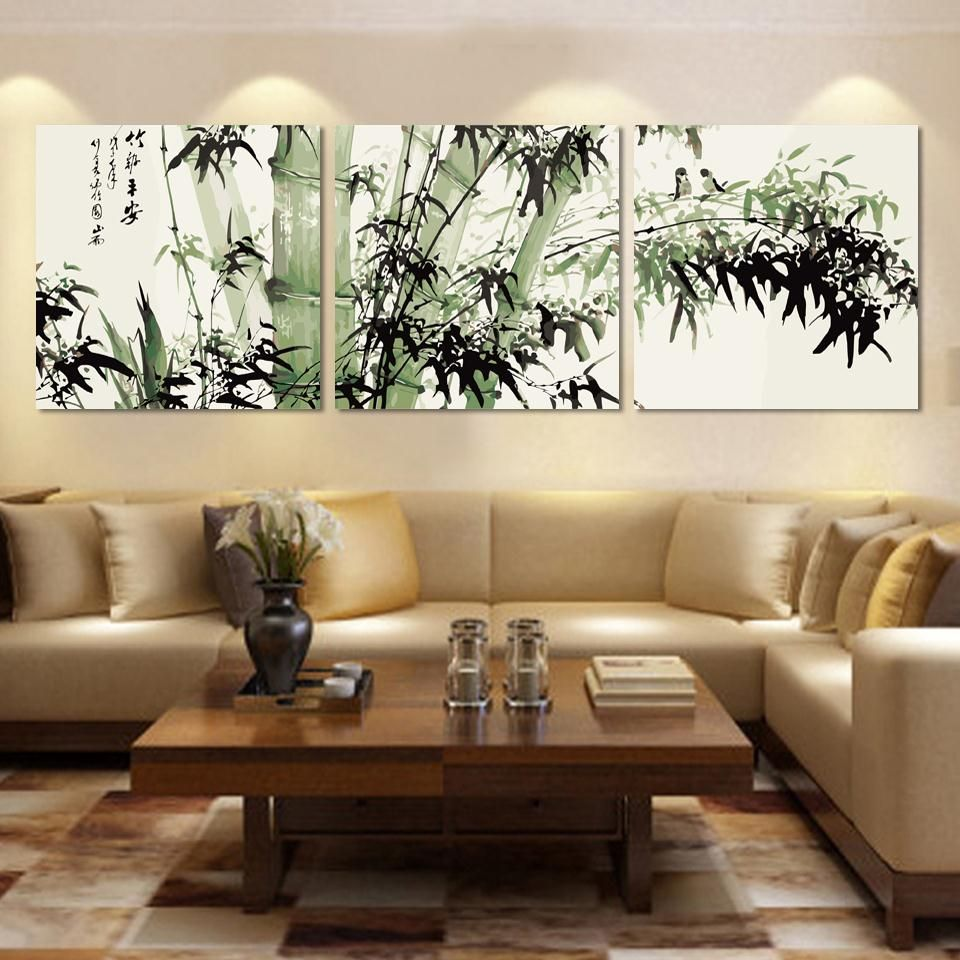 Fashion Large Canvas Art Cheap Modern Abstract Bamboo Canvas Wall Art Landscape Oil Painting Pi Family Room Wall Decor Wall Decor Living Room Family Room Walls