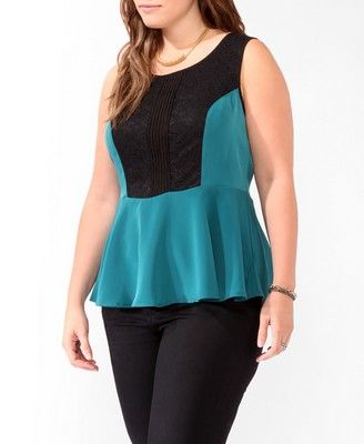 Zippered Lace Peplum Tank | FOREVER 21 - 2031556903