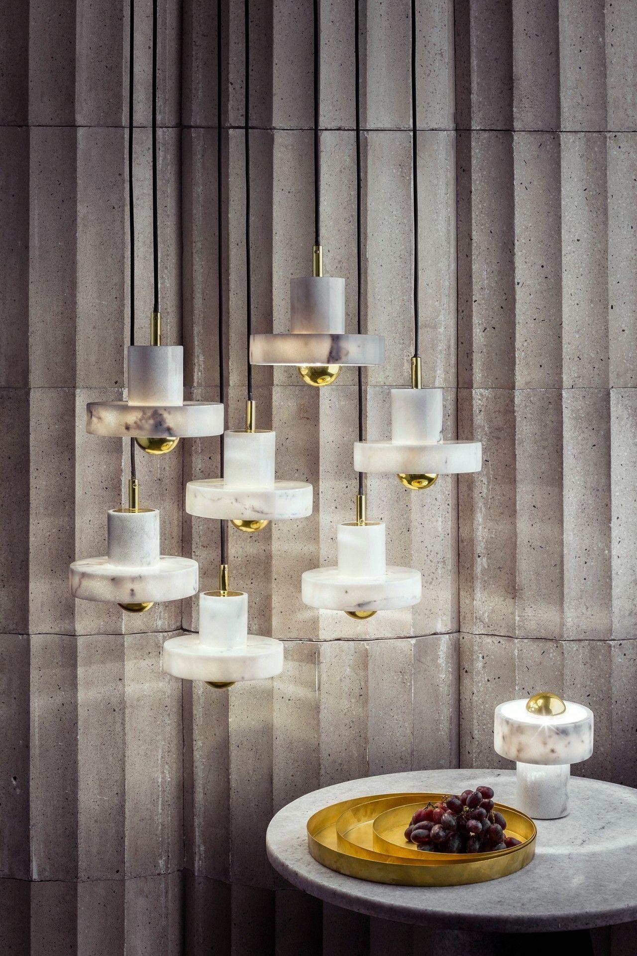 Stone Lights By Tom Dixon Marble Luxury Interior Design Mid Century Ceiling Lamp Living Room Trends Mid Century Pendant Lamps