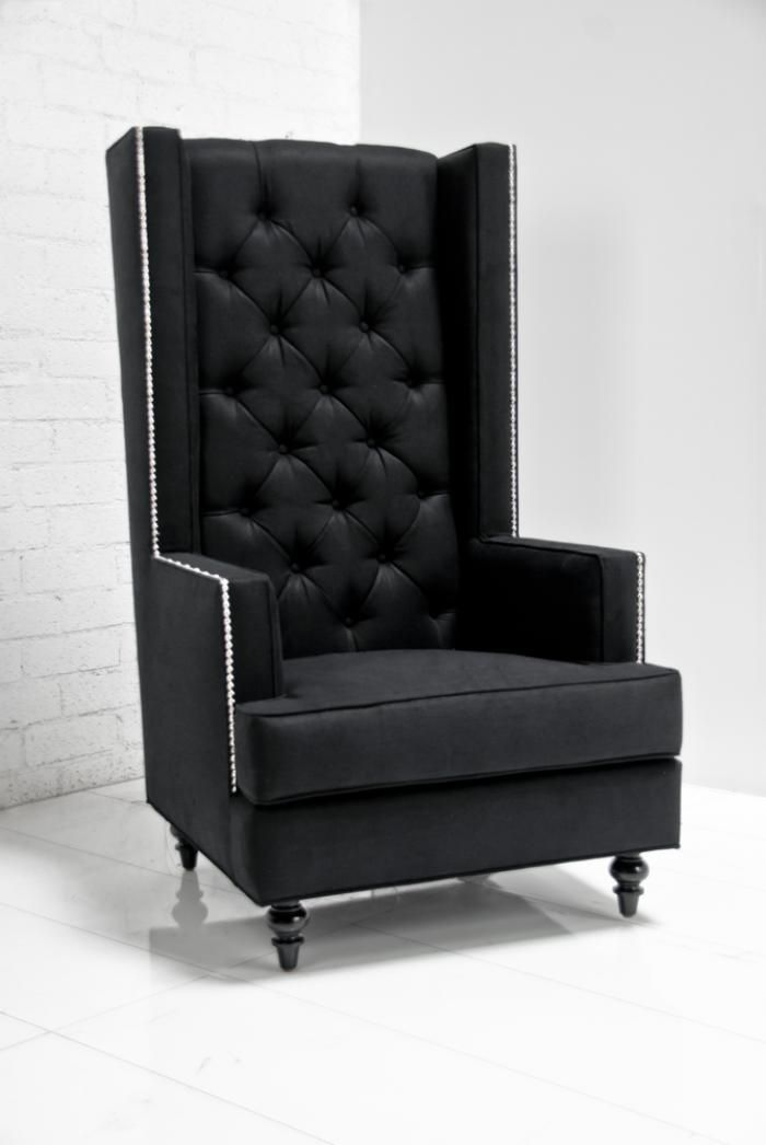 Tall Boy Modern Wing Chair In Black Tweed (in White Or Black White Pattern,  Taller Legs, Use As Dining Chair)