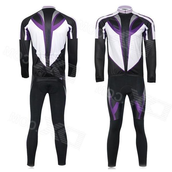 Xintown Mens Cycling Long Jersey Top + Padded Pants Set - Black + Purple + Multi-color (XL)