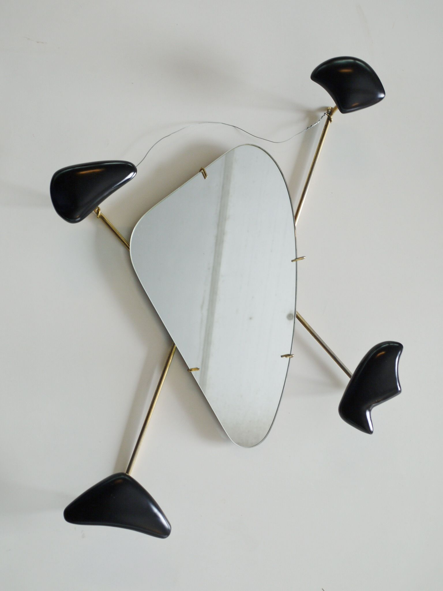 Rare 1950s French wall mirror Georges Jouve and Marcel