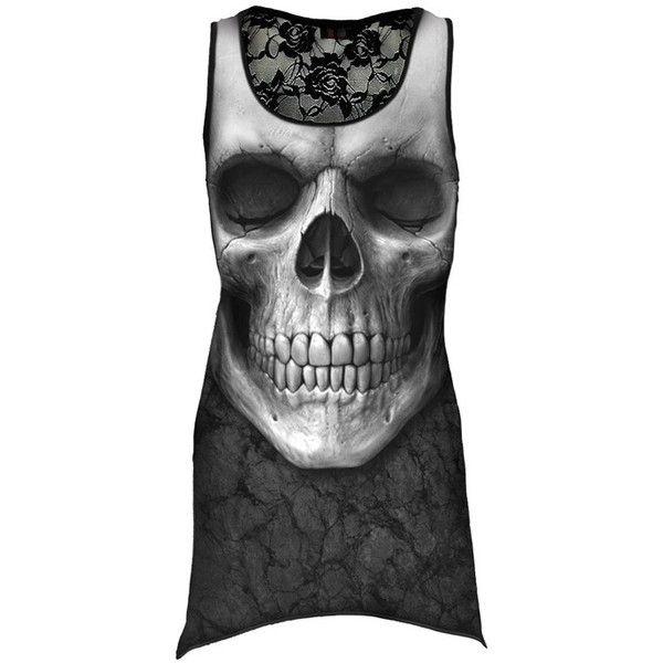 Spiral Direct SOLEMN SKULL Goth Bottom Lace Vest Dress//Goth//Metal//Rock//Top//Tee