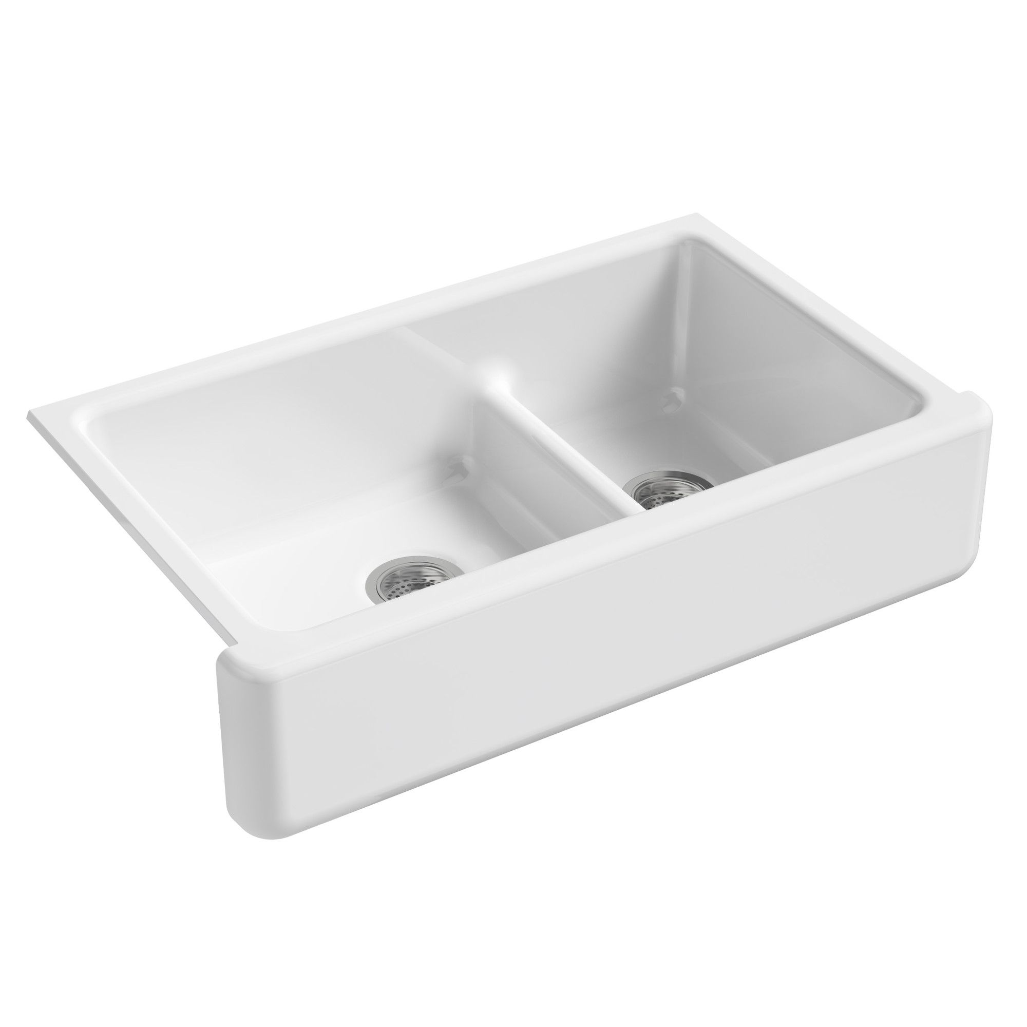 Whitehaven Smart Divide 36 L X 22 W Farmhouse Double Bowl Kitchen Sink With Tall Apron Cast Iron Kitchen Sinks Cast Iron Farmhouse Sink Double Bowl Kitchen Sink