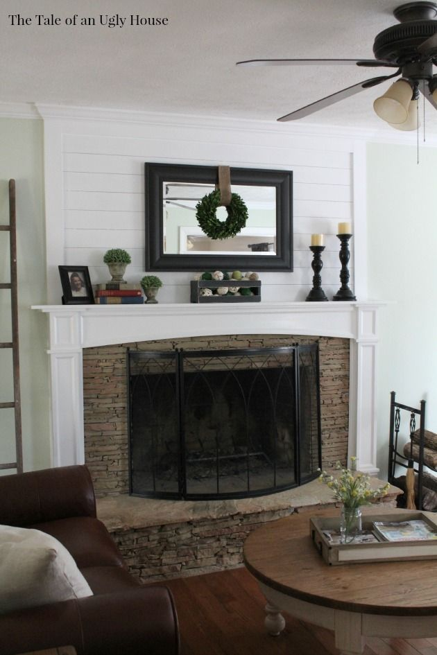 Adding ship lap above the fireplace mantel adds huge