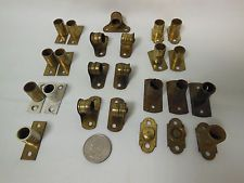 Vintage Brass Metal Cafe Curtain Rod Hardware Bracket Holders