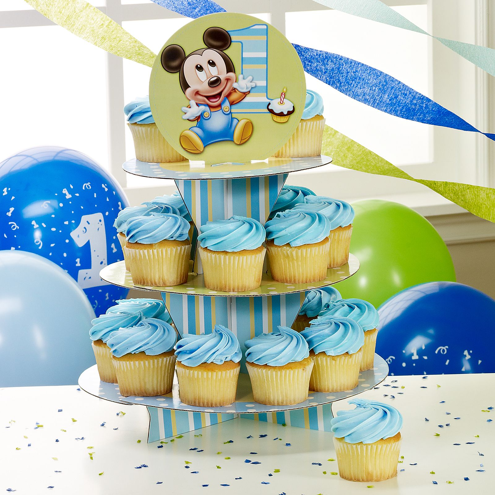 Baby Mickey Mouse Edible Cake Decorations Baby Mickey Mouse Cupcakes Home Mickeys 1st Birthday Cupcake
