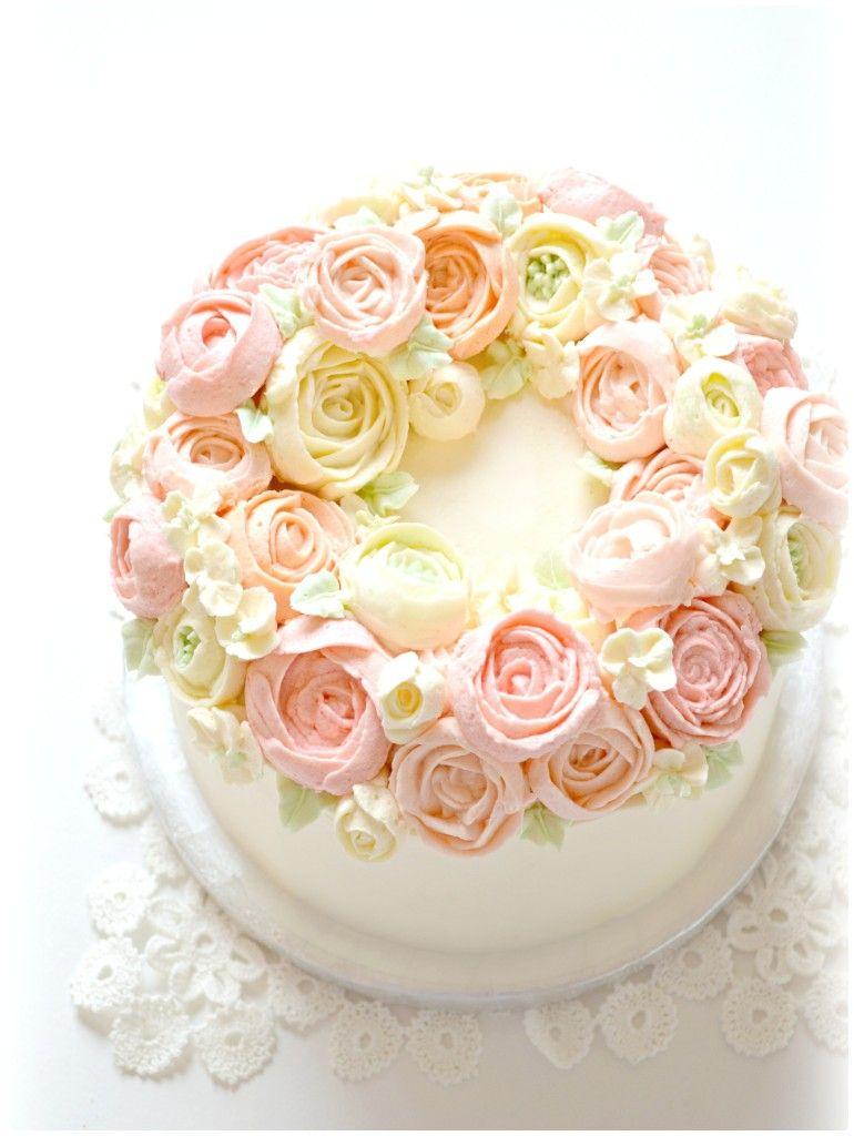 Korean Style Buttercream Flower Wreath Cake Cherie Kelly ...