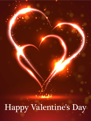 Burning Twin Heart Happy Valentine S Day Card Birthday Greeting Cards By Davia Happy Valentines Day Card Happy Valentines Day Images Happy Valentines Day