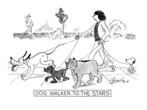 Dog Walker To The Stars New Yorker Cartoon Premium Giclee Print