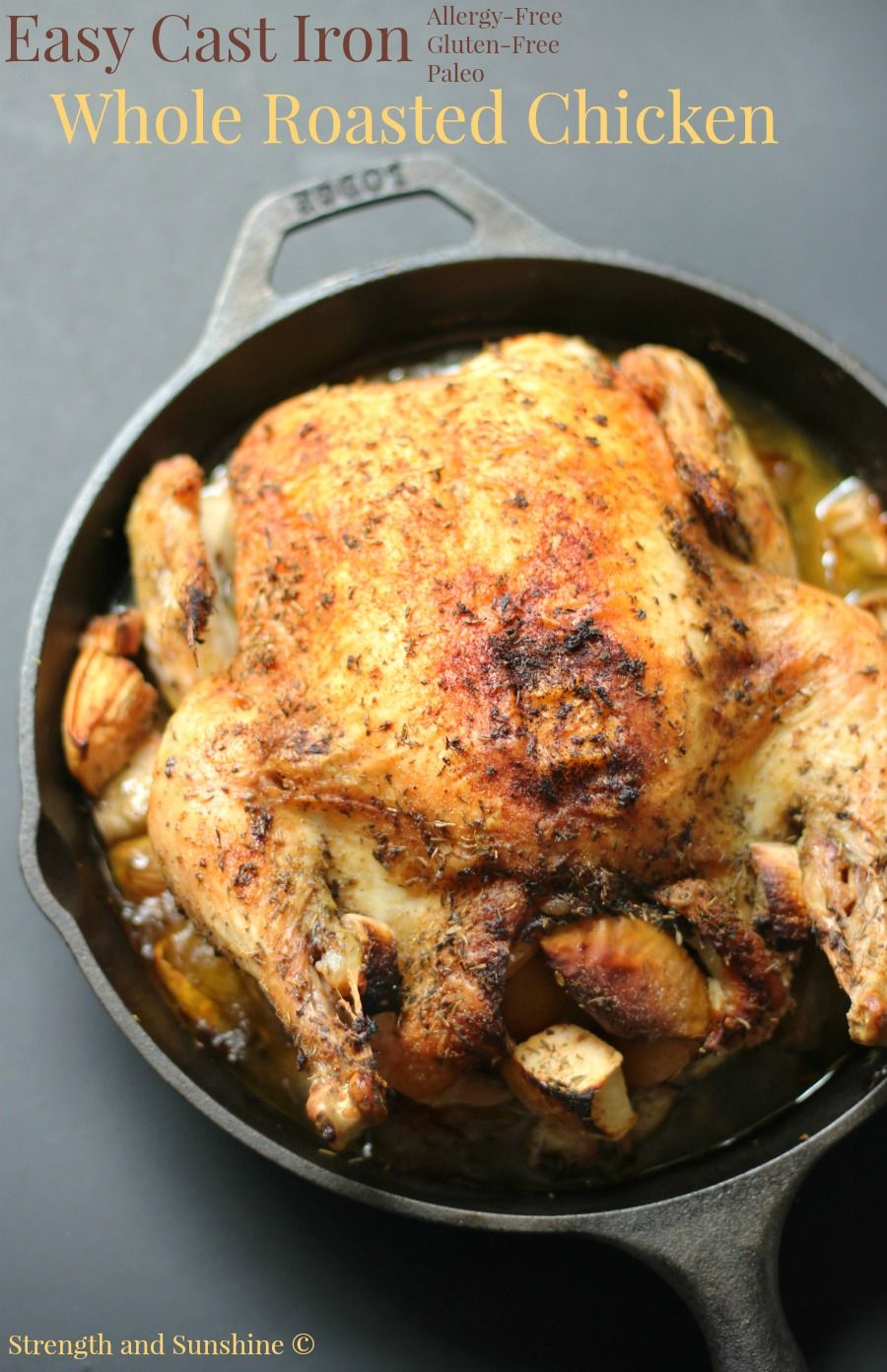 A simple and easy cast iron whole roasted chicken that's full of flavor, perfectly moist and tender, and just waiting to be served at the dinner table!