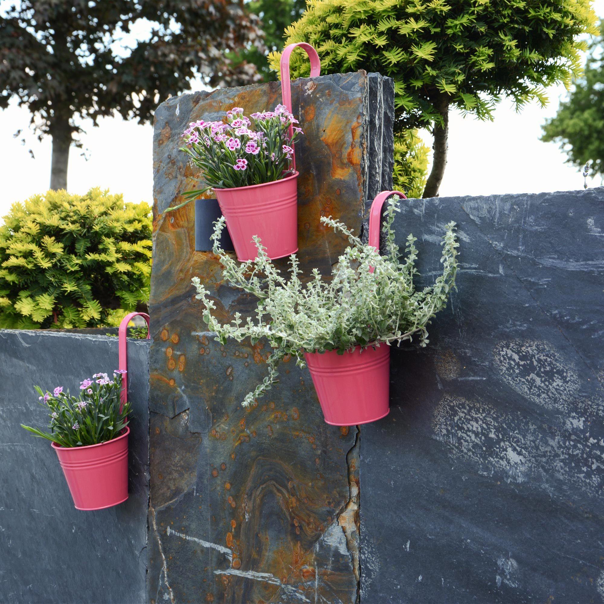 Hangetopf Set Pink Metall Blumen Garten Zaun Gartendekoration Aufhangen Krautergarten Blumenbeet Gartendekoration Blumentopf Hangetopf