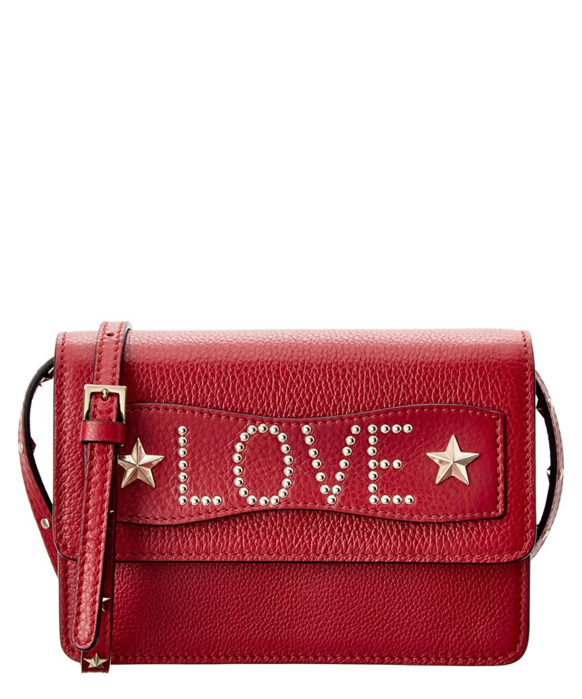 3e9cdb596c RED VALENTINO Red Valentino Studded Love Leather Crossbody'. #redvalentino # bags #shoulder bags #leather #crossbody #lining #