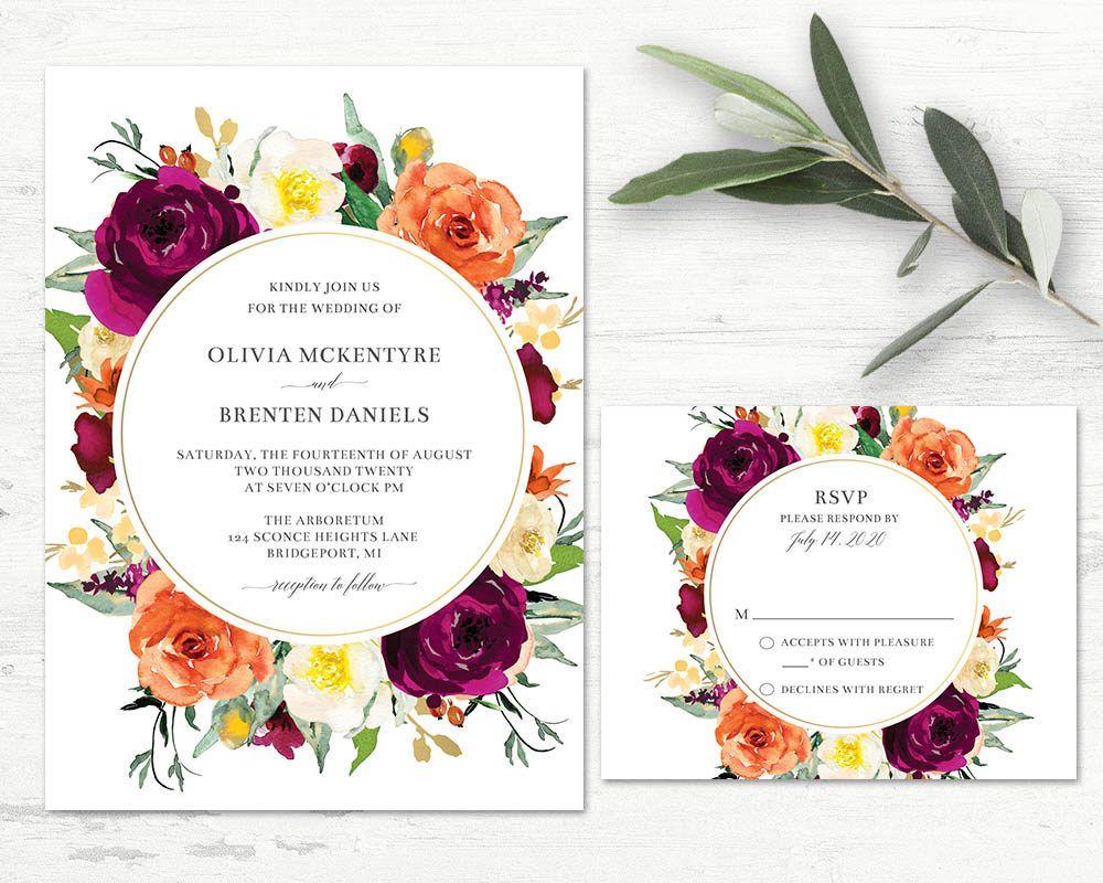 Fall Wedding Invitation Purple And Orange Floral Template Framed Design Bright Wedding Invitations Orange Wedding Invitations Yellow Floral Wedding Invitations