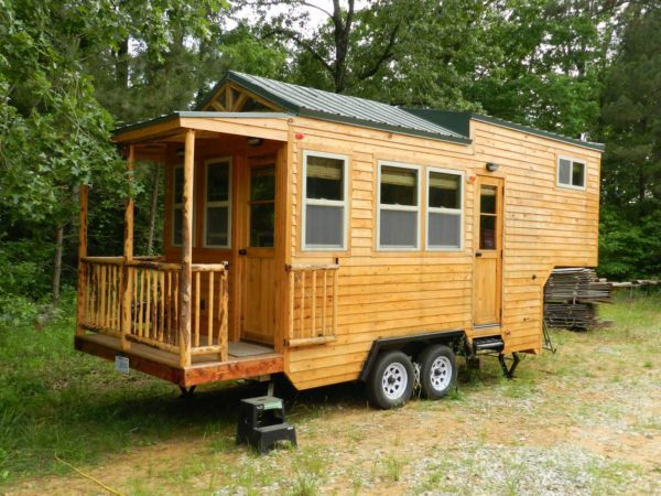 This is a Fifth Wheel Tiny House on Wheels by Mississippi Tiny House LLC.