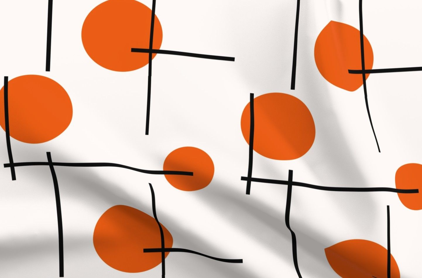 Retro Orange Dots Cotton Jersey Fabric Swatch Mid Century Modern Lines Home Decor Mod Minimalist Summer 1960S  By Spoonflower
