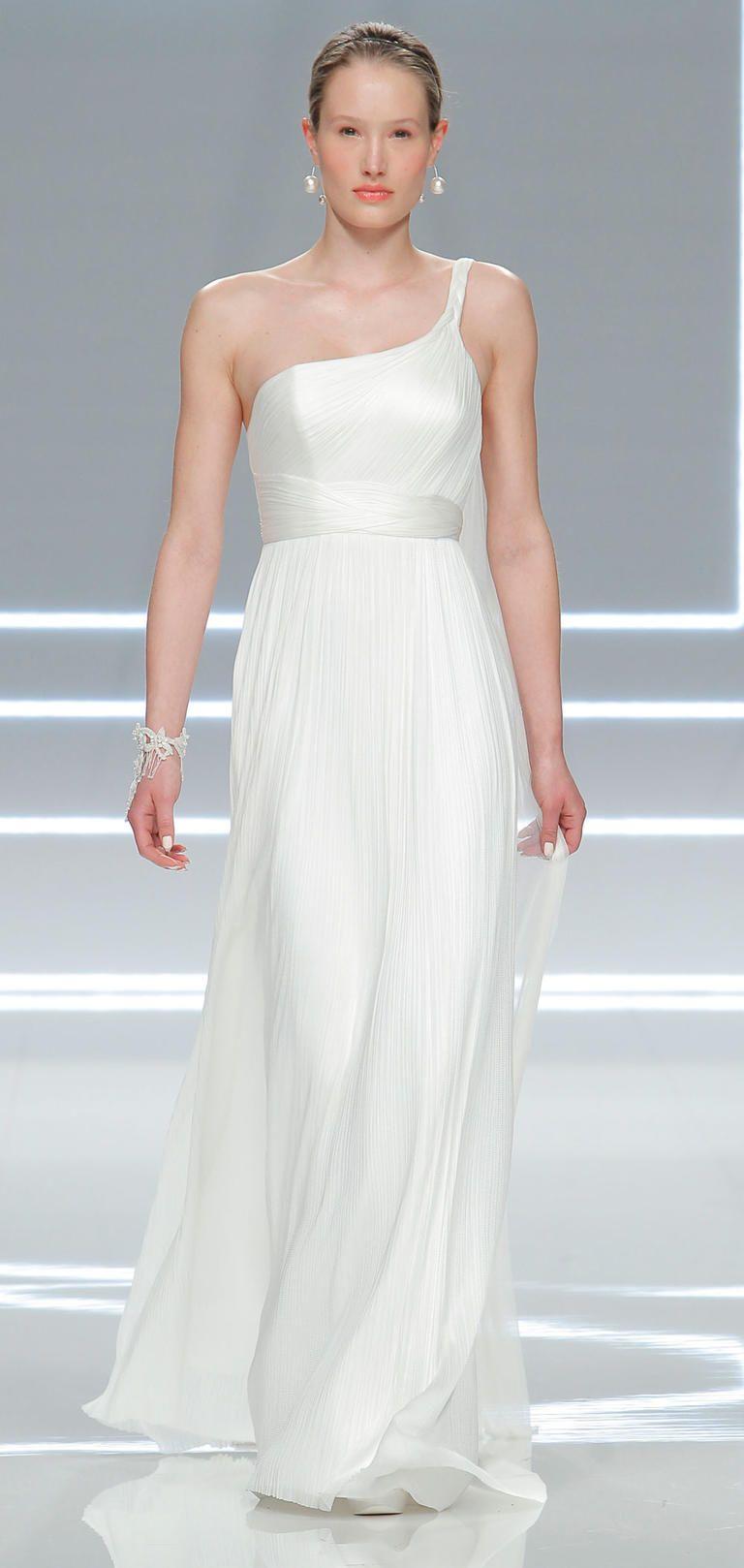 One strap wedding dress  Rosa Claráus Modern and Minimalist Wedding Dresses for   novias