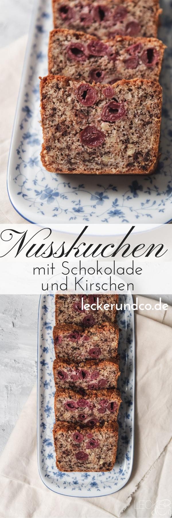 Nusskuchen mit Schokolade und Kirschen #kochenundbacken