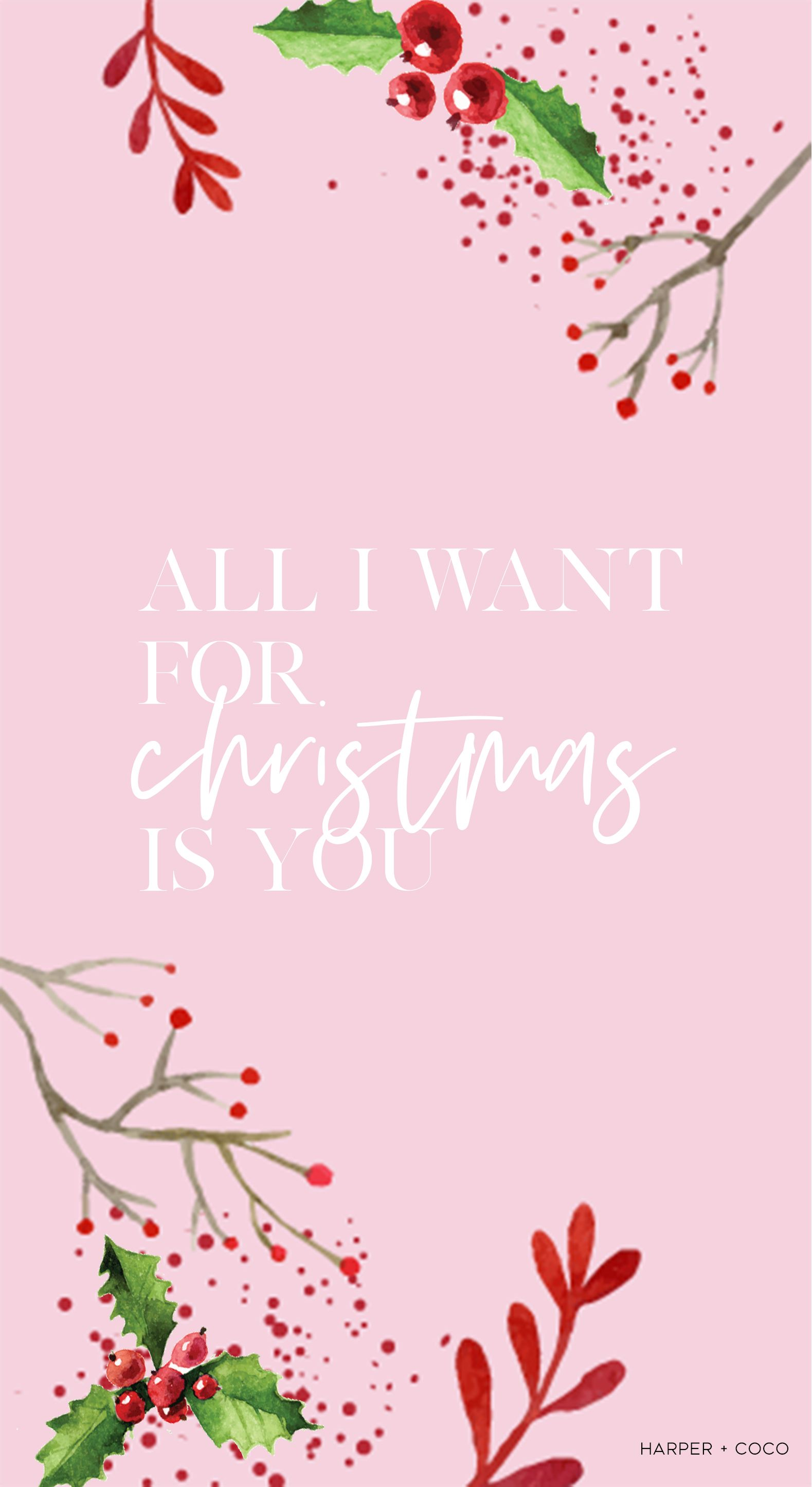 All I Want For Christmas Is You Iphone Wallpaper Pink Christmas Freewallpaper Iphonew Wallpaper Iphone Christmas Christmas Phone Wallpaper Xmas Wallpaper