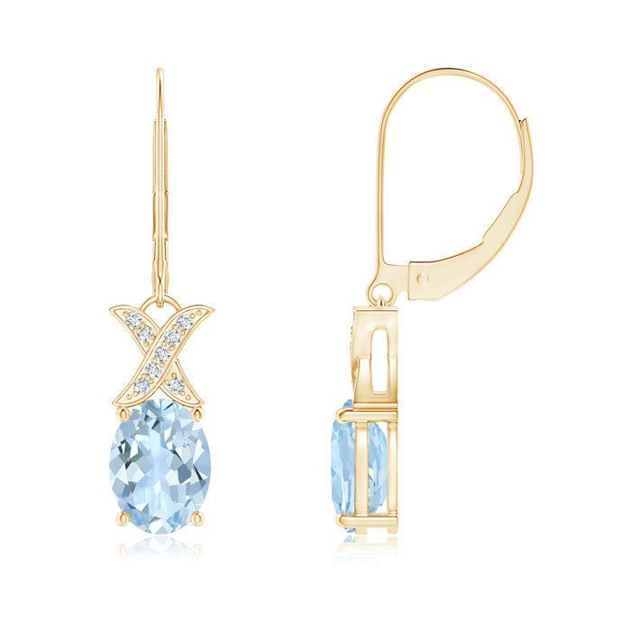 Angara Sapphire and Diamond XO Leverback Drop Earrings