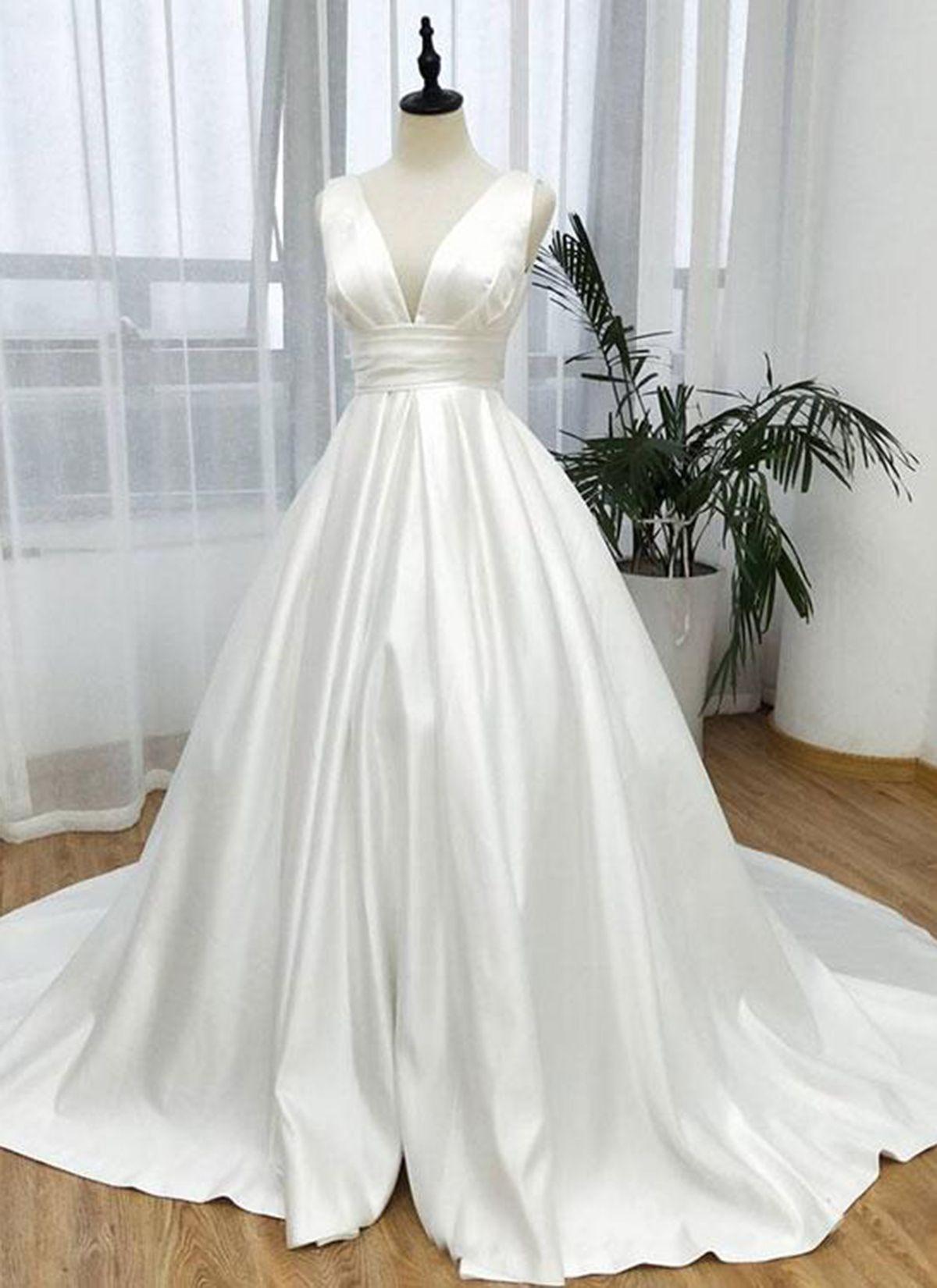 White satin long v neck prom dress white evening dress from