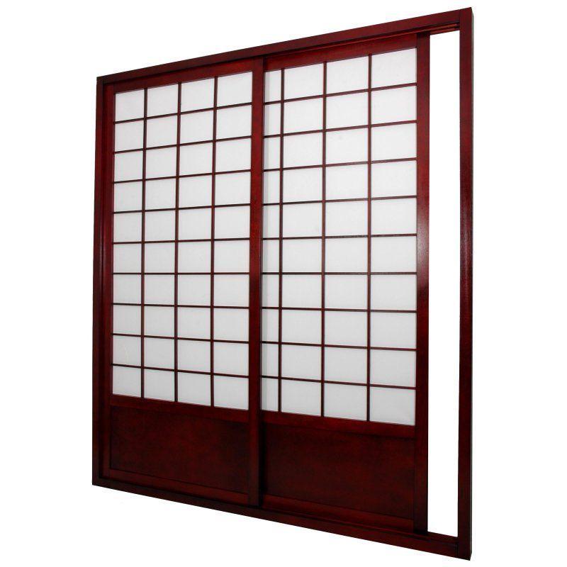 Oriental Furniture 7 ft. Zen Shoji Sliding Door Kit Rosewood - SHOJI-DOOR-ROSEWOOD