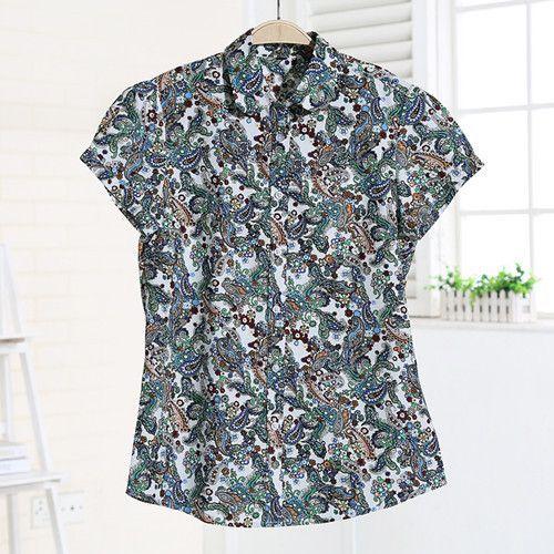 Dioufond Women Summer Blouses Short Sleeve Blouse Turn Down Collar ...