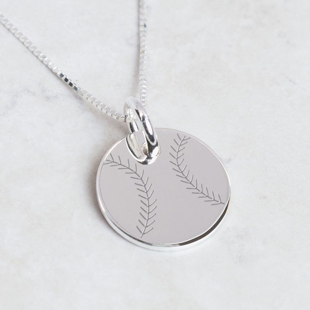 STERLING SILVER BATTING BASEBALL PLAYER CHARM WITH BOX CHAIN NECKLACE