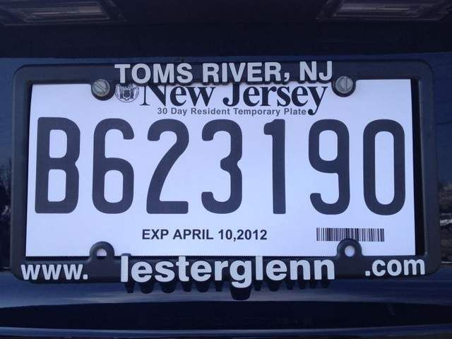 Temporary License Plate Pa New Car