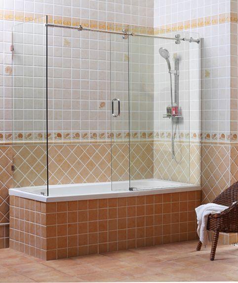 wrap-around glass shower doors | bathroom remodel | Pinterest ...
