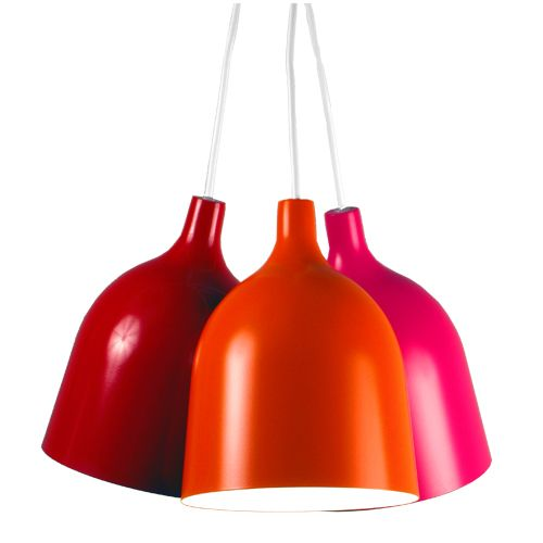 Suspension triple en métal orange rose et rouge Mekano Aluminor