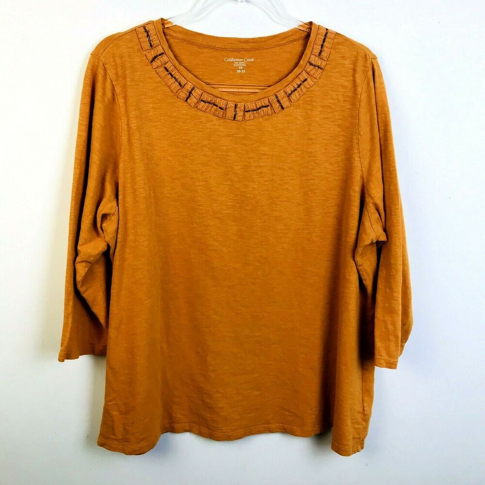 Coldwater Creek Gold Knit Top Women's 2X Beaded