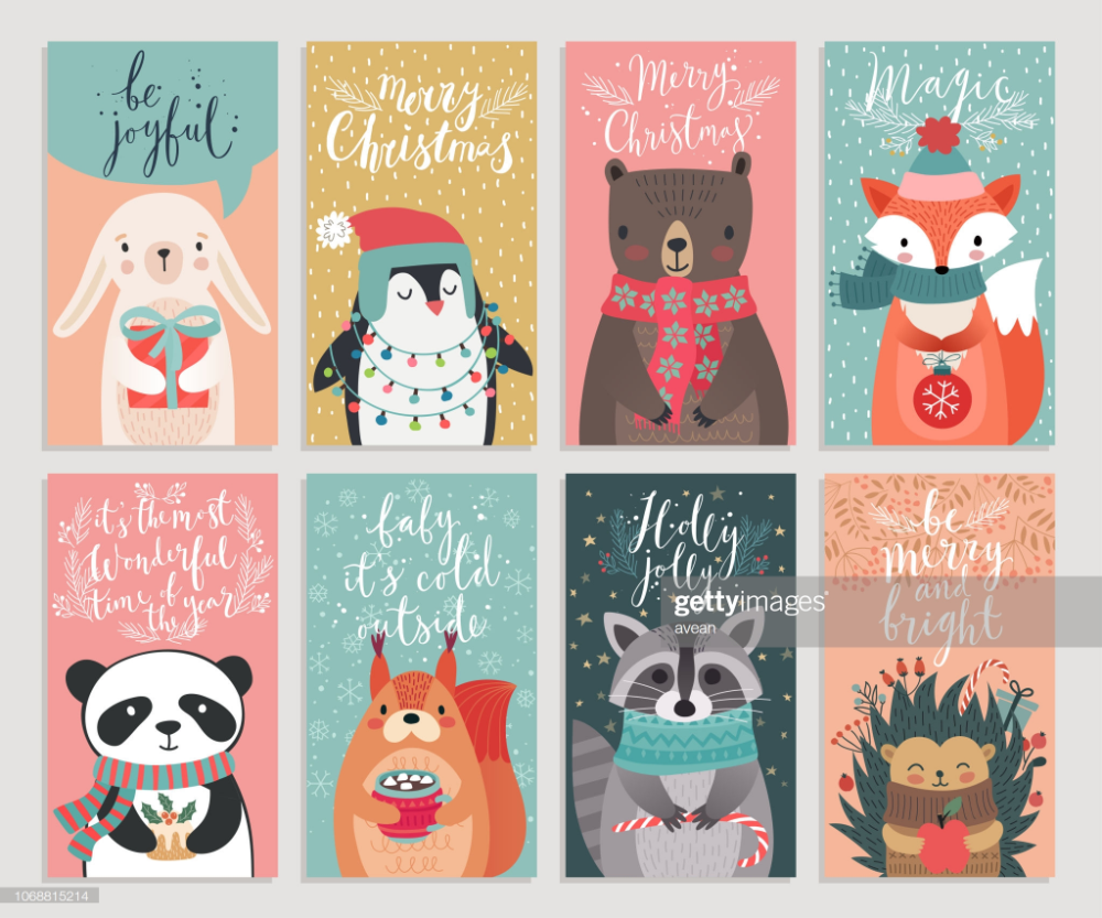 Christmas Cards With Animals Hand Drawn Style Woodland Characters Christmas Illustration Christmas Card Illustration Christmas Card Design