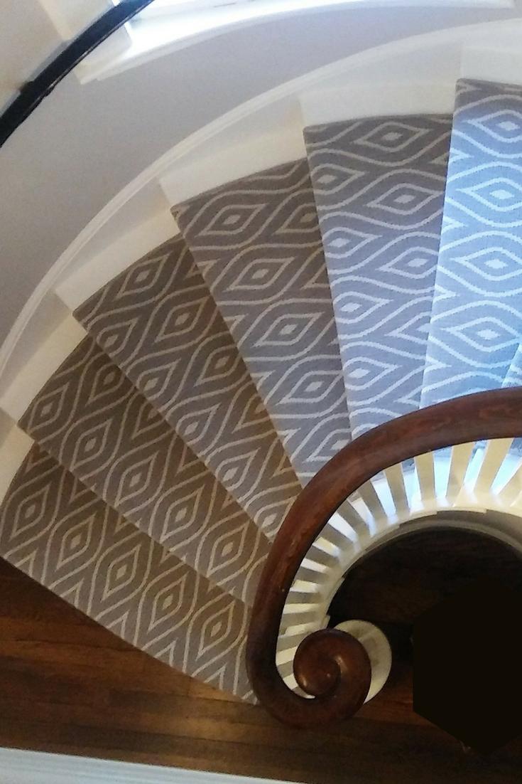 Modern Geometric Stair Runner Carpet An Exuberant Pattern Of Undulating Diamonds In Grey And Cream Enhances Geometric Stair Runner Carpet Stairs Stair Runner