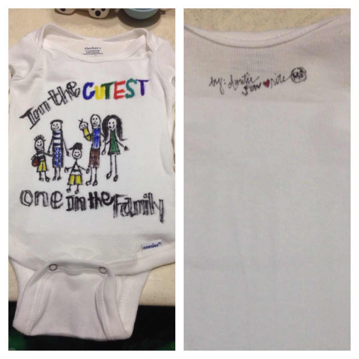Stick figures family on baby onesie
