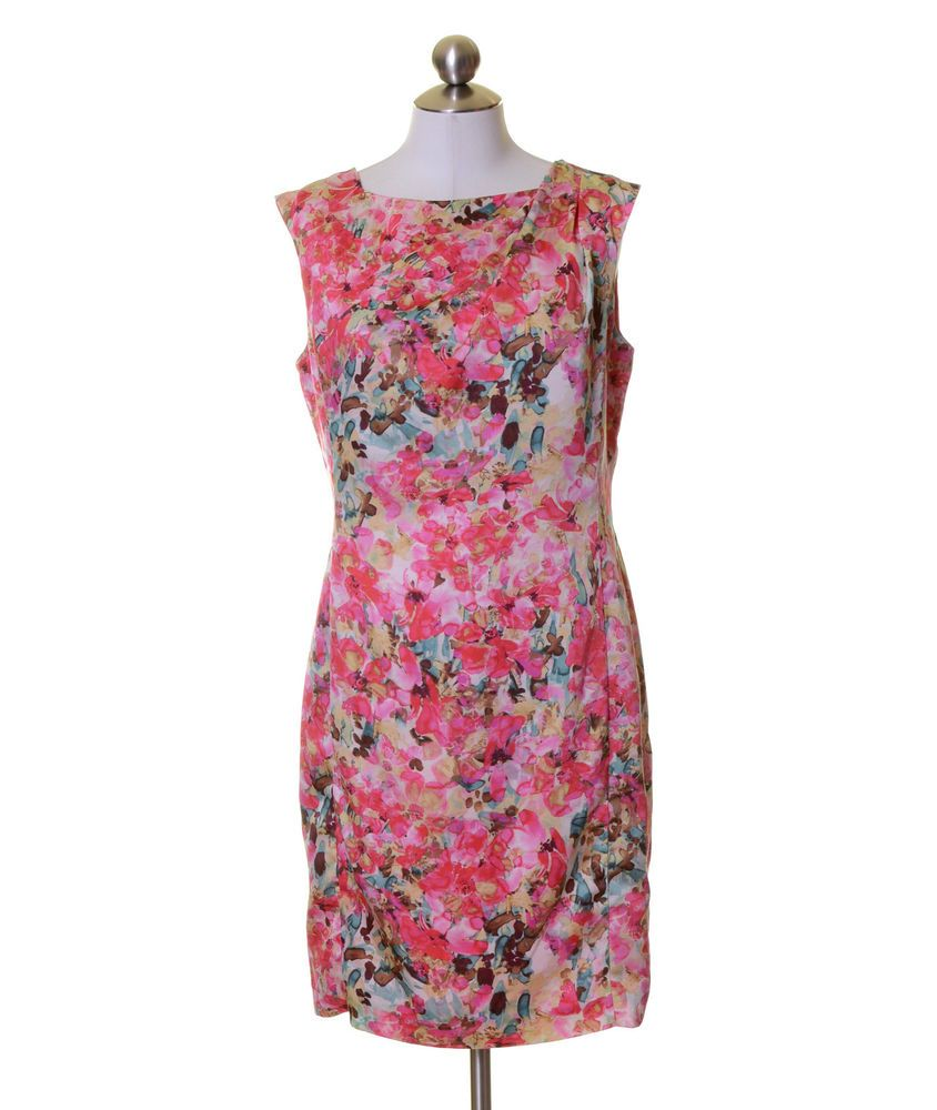 Ann Taylor Pink White Yellow Brown Blue Floral Lined