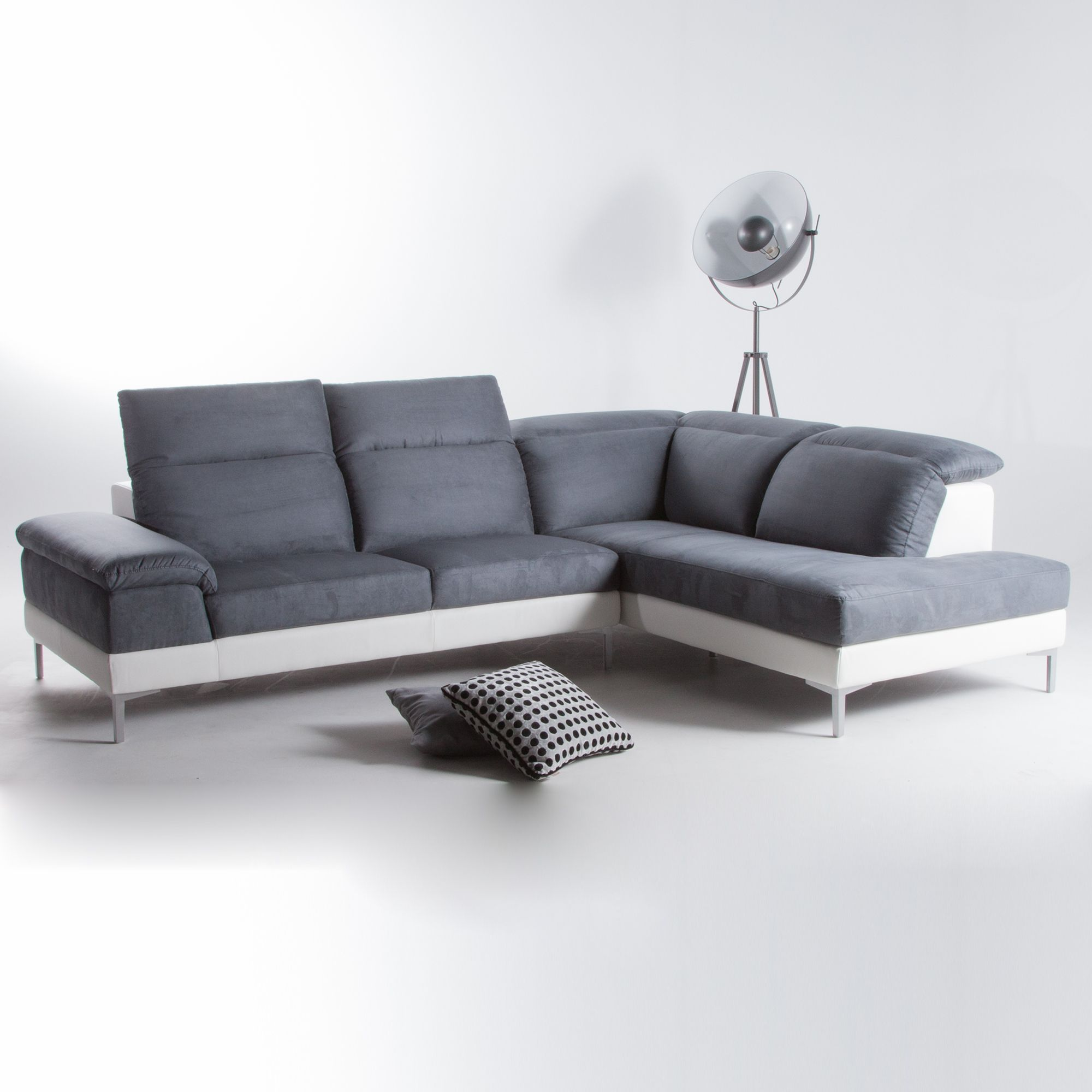Canape D Angle Microfibre Simili 4 Places Gris Blanc Tetieres Reglables Agatha Urban Living Port Offert Sectional Couch Couch Furniture