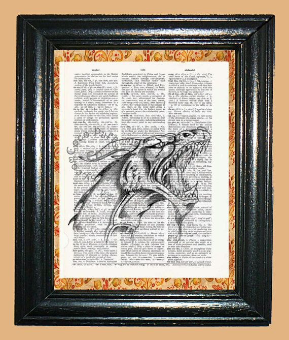 Screaming Dragon Art  Vintage Dictionary Book Page by CocoPuffsArt